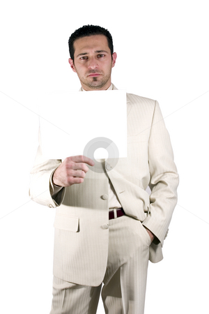 Businessman holding a blank sign stock photo, Isolated businessman with a white suit holding a blank sign by Mehmet Dilsiz