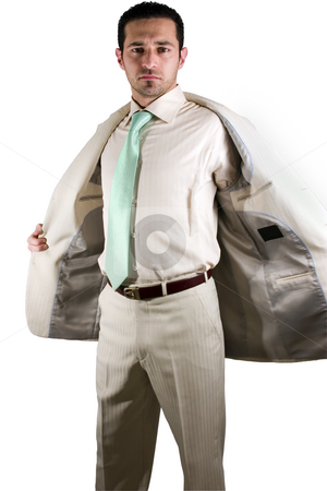 Businessman - End of the day stock photo, Isolated businessman taking his jacket off - End of the Day by Mehmet Dilsiz