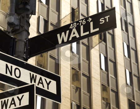 Wall Street stock photo, A No Way sign under a Wall Street sign in Manhattan, New York. by Ignacio Gonzalez Prado