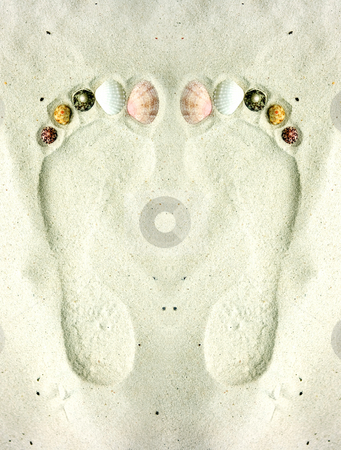 Feet on the sand stock photo, Human footprints on the sand decorated with shells by Dmitry Rostovtsev