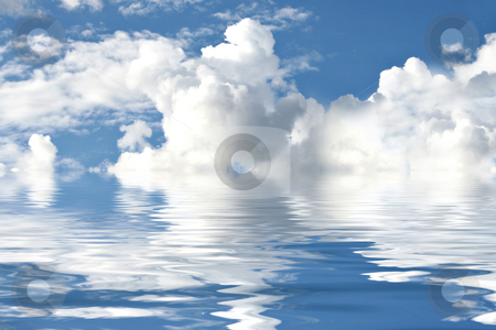 Clouds and sky reflection in water stock photo, Water reflections of sky and clouds by Dmitry Rostovtsev