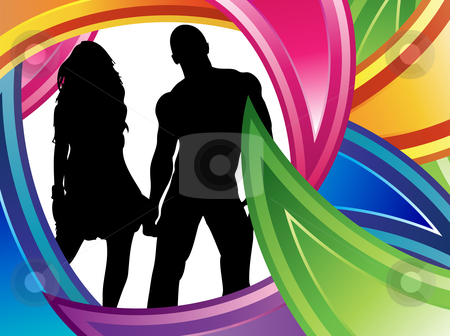 Couple Colorful Silhouette stock vector clipart, Couple silhouette surrounded by beautiful colored frame by Augusto Cabral Graphiste Rennes