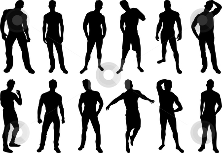 Men Silhouettes stock vector clipart, Set of 12 sexy men silhouettes on white background by Augusto Cabral Graphiste Rennes