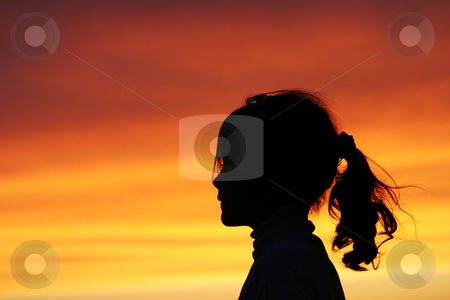 Female silhouette at sunset stock photo, Iran by Ali Shokri