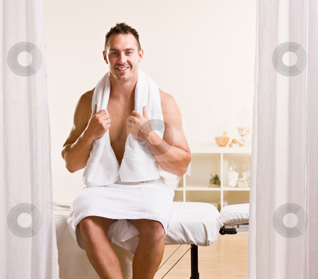 Man waiting for massage stock photo, Man waiting for massage by Jonathan Ross