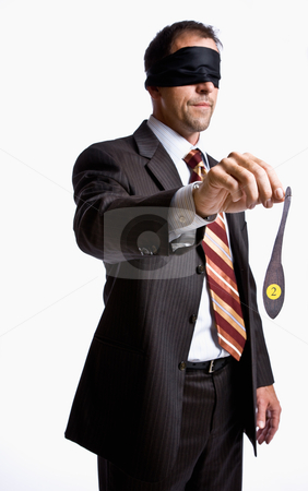 Businessman in blindfold with donkey tail stock photo, Businessman in blindfold with donkey tail by Jonathan Ross