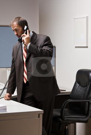 Businessman talking on telephone stock photo, Businessman talking on telephone by Jonathan Ross