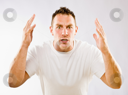 Man gesturing in surprise stock photo, Man gesturing in surprise by Jonathan Ross