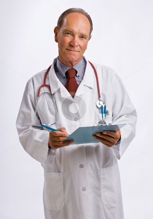 Doctor in lab coat and stethoscope stock photo, Doctor in lab coat and stethoscope by Jonathan Ross