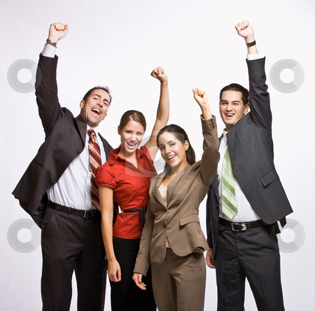 Business people cheering stock photo, Business people cheering by Jonathan Ross
