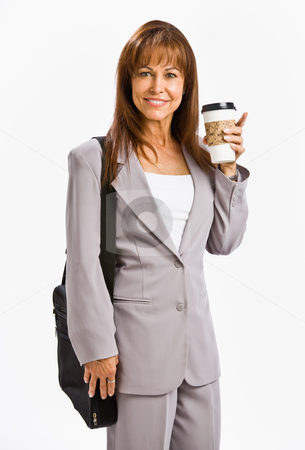 Businesswoman drinking coffee stock photo, Businesswoman drinking coffee by Jonathan Ross