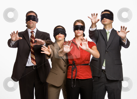 Business people in blindfolds stock photo, Business people in blindfolds by Jonathan Ross
