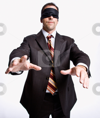 Businessman in blindfold stock photo, Businessman in blindfold by Jonathan Ross
