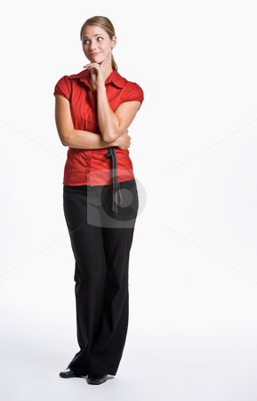 Businesswoman looking skeptical stock photo, Businesswoman looking skeptical by Jonathan Ross