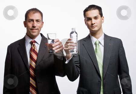 Businessmen holding water stock photo, Businessmen holding water by Jonathan Ross
