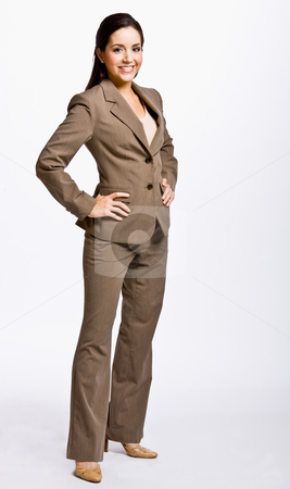 Businesswoman with hands on hips stock photo, Businesswoman with hands on hips by Jonathan Ross