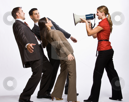 Businesswoman shouting with megaphone stock photo, Businesswoman shouting with megaphone by Jonathan Ross