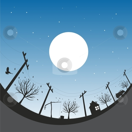 Vector illustration with autumn night sky stock vector clipart, Vector illustration with autumn night sky by pilgrim.artworks