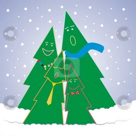Fully editable vector Christmas illustration stock vector clipart, Fully editable vector illustration set - six decorative Christmas trees with details ready to use by pilgrim.artworks