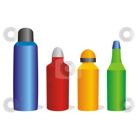 isolated colored aluminum bottles set  stock vector clipart, isolated colored aluminum bottles set by pilgrim.artworks