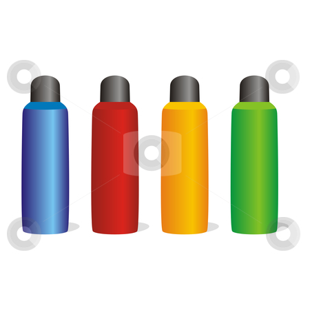 isolated colored aluminum bottles set  stock vector clipart, isolated colored aluminum bottles set by pilgrim.artworks