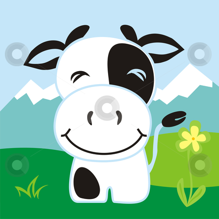 Fully editable vector happy cow stock vector clipart, Fully editable vector happy cow on mountains background by pilgrim.artworks