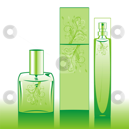 Fully editable isolated perfume bottles stock vector clipart, Fully editable isolated perfume bottles with floral essence by pilgrim.artworks