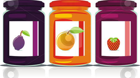 Isolated jam jars set  stock vector clipart, Isolated jam jars set by pilgrim.artworks