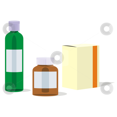 Fully editable vector painkillers bottles and box stock vector clipart, Fully editable vector painkillers bottles and box by pilgrim.artworks