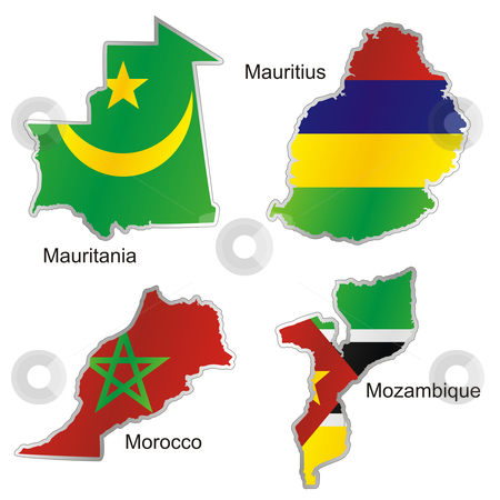 vector editable isolated african flags in map shape with details  stock vector clipart, vector editable isolated african flags in map shape with details by pilgrim.artworks