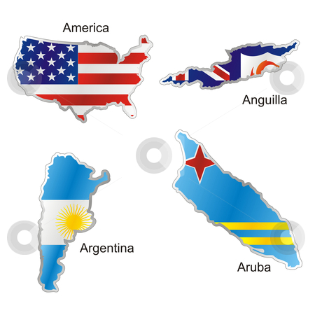 Vector editable isolated american flags in map shape with details  stock vector clipart, Vector editable isolated american flags in map shape with details by pilgrim.artworks