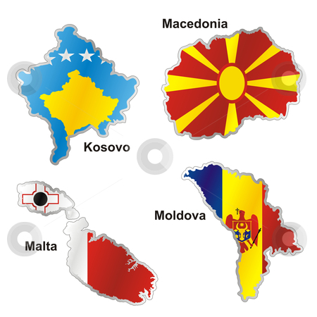 Vector editable isolated european flags in map shape with details  stock vector clipart, Vector editable isolated european flags in map shape with details by pilgrim.artworks