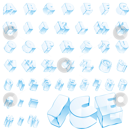 Fully editable vector 3d ice alphabet - capitals and numerals  stock vector clipart, Fully editable vector 3d ice alphabet - capitals and numerals by pilgrim.artworks
