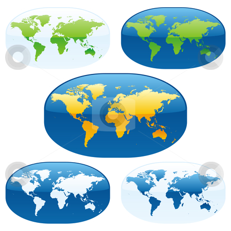 Vector editable colored world map and globes  stock vector clipart, Fully editable vector colored world map and globes by pilgrim.artworks