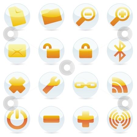 Fully editable vector isolated internet icons and buttons stock vector clipart, Fully editable vector isolated internet icons and buttons by pilgrim.artworks