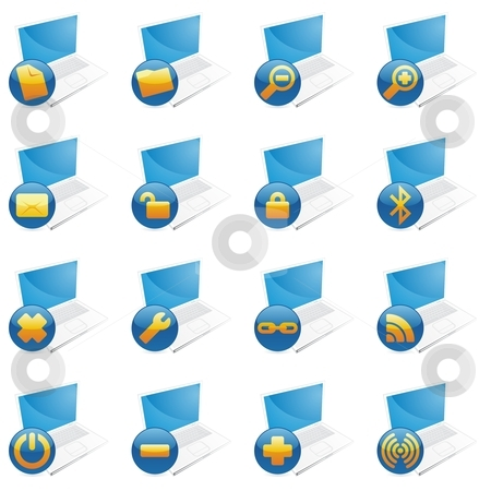 Fully editable isolated internet icons  stock vector clipart, Fully editable isolated internet icons by pilgrim.artworks
