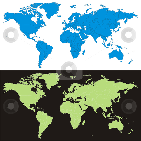 Fully editable vector world map with details ready to use stock vector clipart, Fully editable vector world map with details ready to use by pilgrim.artworks