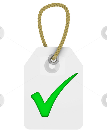 Tag with tick symbol stock photo, White tag with green tick symbol by Nuno Andre