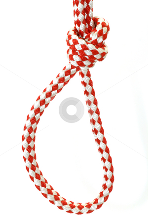 Rope with knot stock photo, Rope with knot close up. Isolated on white background. by Birgit Reitz-Hofmann