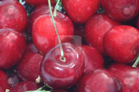 Red cherry fruits stock photo, Close up from fresh cherry fruits as background by Birgit Reitz-Hofmann