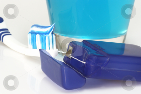 Dental care stock photo, Dental care products on bright background by Birgit Reitz-Hofmann