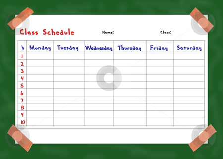Class schedule stock photo, Collage of a class schedule fixed on a board by Birgit Reitz-Hofmann