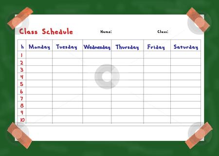 Class schedule stock photo, Collage of a class schedule fixed on a board by Birgit Reitz-Hofmann