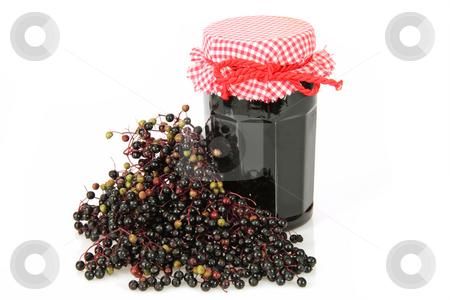 Elderberry marmelade stock photo, Elderberry marmelade on bright background. Shot in studio. by Birgit Reitz-Hofmann