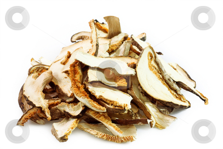 Asia mushrooms stock photo, Dried asia mushrooms in Detail. Shot in studio. by Birgit Reitz-Hofmann