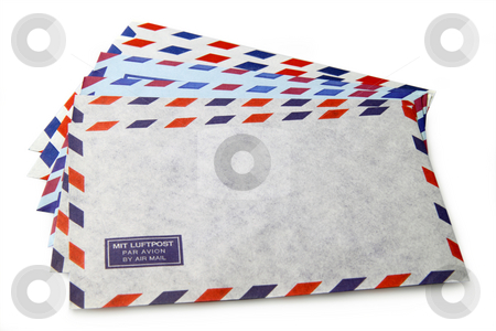 Air Mail stock photo, Envelopes with the words air mail in different languages by Birgit Reitz-Hofmann