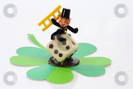 Chimney sweep stock photo, Lucky marzipan pig with cloverleaf and mushroom, on bright background by Birgit Reitz-Hofmann