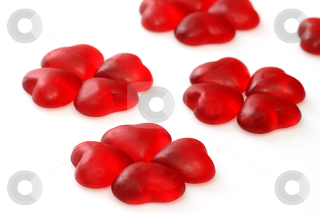 Wine gum hearts stock photo, Brightly coloured wine gums on bright background by Birgit Reitz-Hofmann