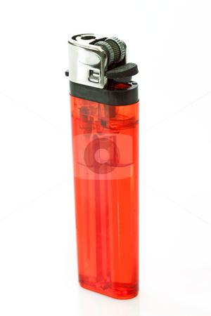 Cigarette lighter stock photo, Red cigarette lighter, isolated over a white background. by Birgit Reitz-Hofmann