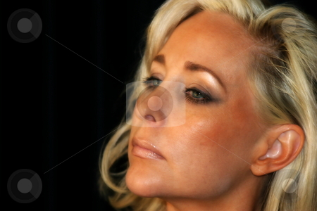 Portrait Young Woman stock photo, Portrait of a beautiful young woman with blond hair by Henrik Lehnerer